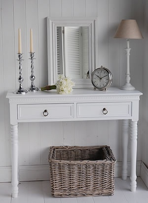 A white Console Table from The White Lighthouse
