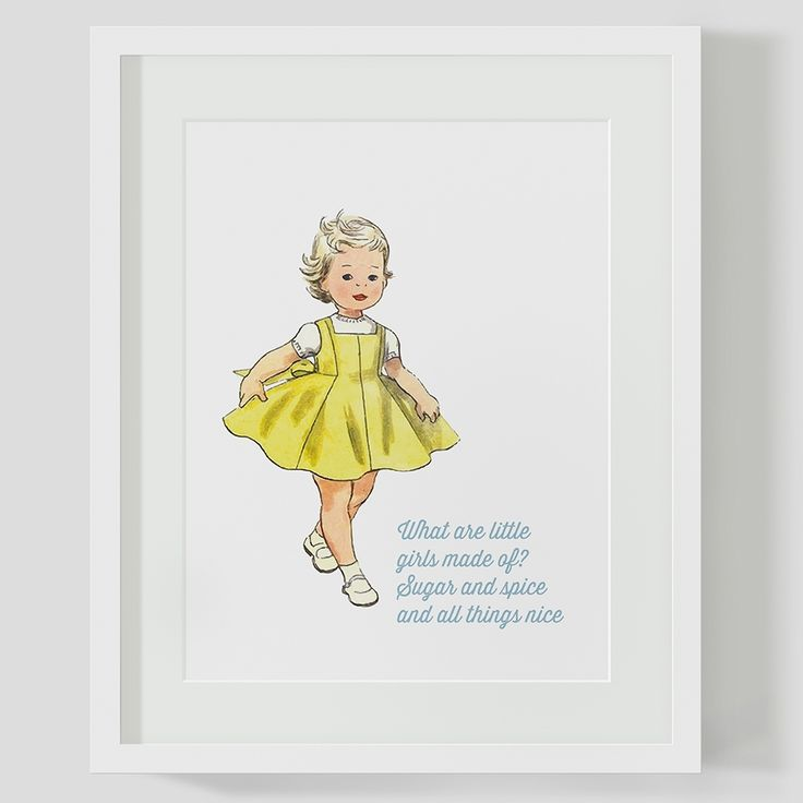What are little girls made of, vintage children's print   hardtofind.