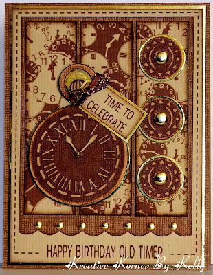 "Kreative Korner By Kelly: Birthday Cards For Friends and Family--""Happy Birthday Old Timer"" clock card"