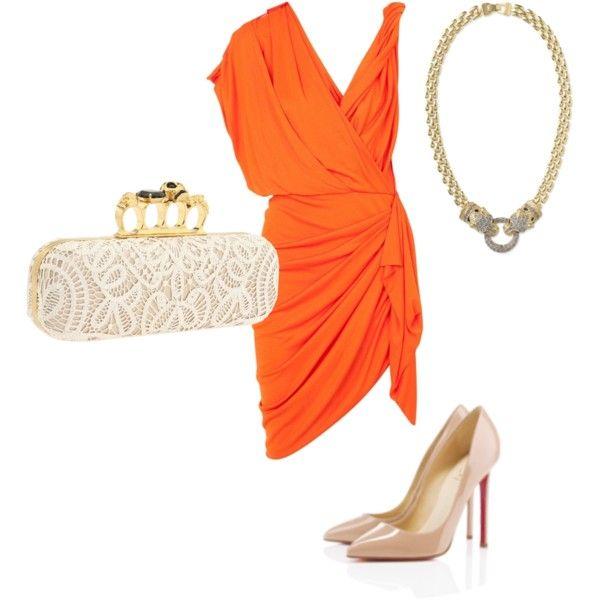 Untitled #64 by martha-daly-deetjen on Polyvore Orange Dress