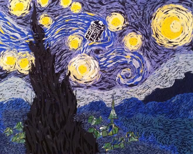 Flying Tardis Starry Night Painting: Acrylic paint on canvas. A Van Gogh painting with the Doctor Who Tardis flying in the starry sky. Made for Euphoria Cafe. SOLD