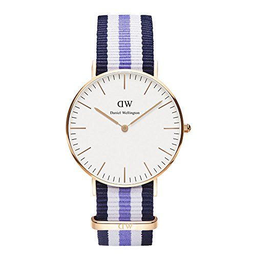 Daniel Wellington Classic Damenuhr blau-weiß-lila/roségoldfarben 0509DW - http://uhr.haus/daniel-wellington/blau-weiss-lila-daniel-wellington-uhr-classic-neu