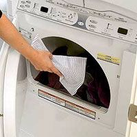 reusable dryer sheet. soak a hand towel in fabric softener and let dry completely. reuse for at least 40 loads.