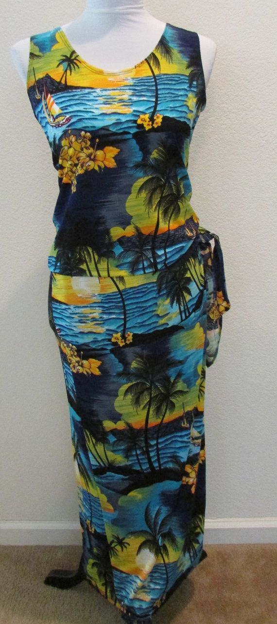 Vintage Two Piece Tank & Wrap Skirt Beach Resort Wear Hawaii Tropical Size XL by timegonebyvintage. Explore more products on http://timegonebyvintage.etsy.com