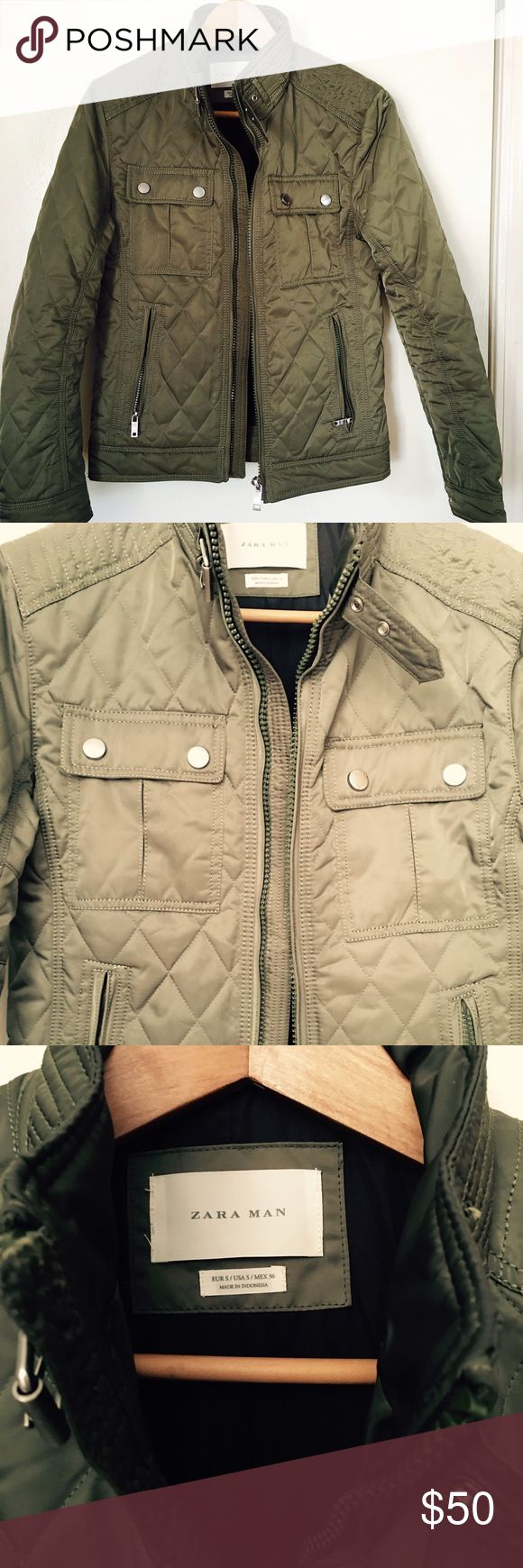 Quilted jacket Hunter green quilted jacket with silver details Zara Man Jackets & Coats Lightweight & Shirt Jackets