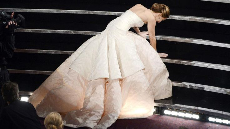 Jennifer Lawrence Trips at the Oscars and Still Looks Cool
