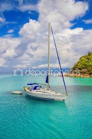 Sailboats at Lakka Bay, Paxos island, Greece — Стоковое фото © anatema #65973653