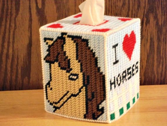 i love horses tissue box cover plastic canvas by