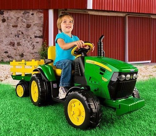 Electric Cars for Kids To Ride On John Deere Tractor Battery Power Trailer Boys #ElectricCarsfor