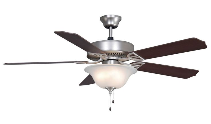 "Fanimation BP2201-220 52"" 5 Blade 220V FanSync Compatible Commercial Ceiling Fan Satin Nickel Fans Ceiling Fans Indoor Ceiling Fans"