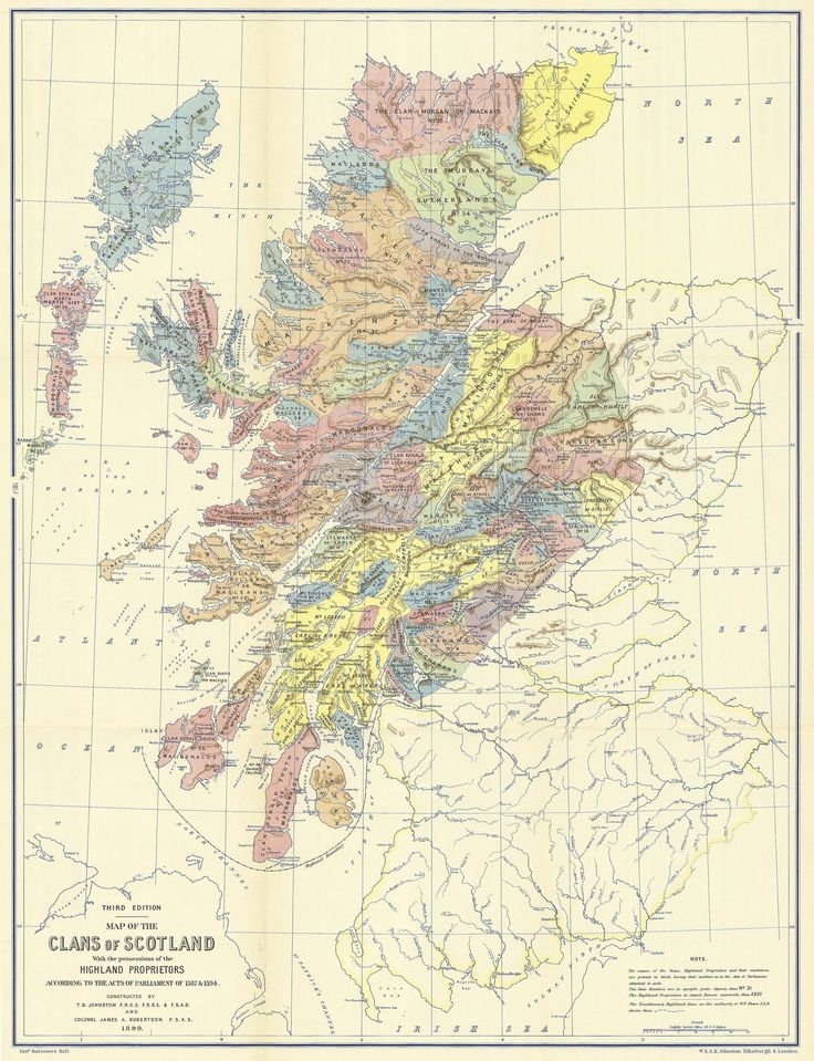 The map of Scotland shows the locations of the clans and the land owned by the principal landowners in around 1587-1594.