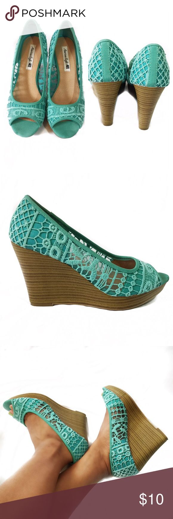 TURQUOISE WEDGES Heels: 4 inches; beautiful shoes. No flaws American Eagle Shoes Wedges