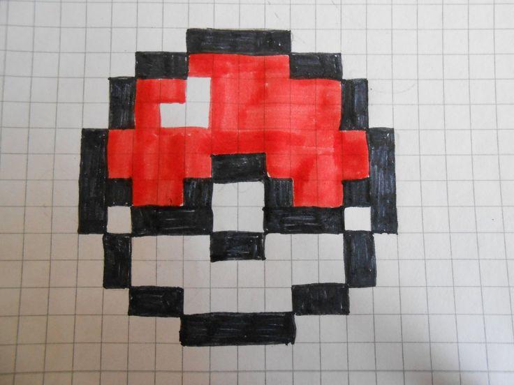 minecraft pokeball pixel art grid   crafts