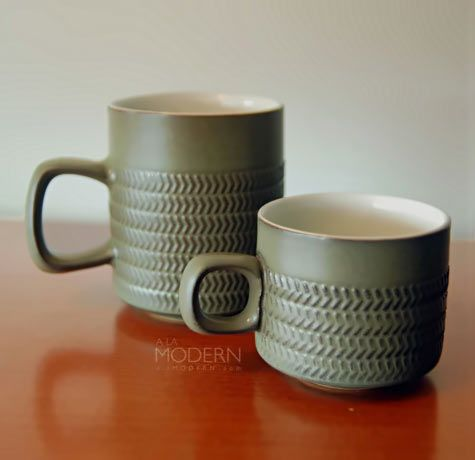 Denby Chevron mugs. This pattern was made for years by Denby and is a vintage classic. There are lots of items in the range too so collecting can be lots of fun.