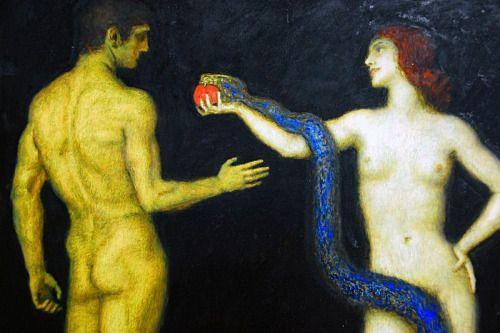 Franz Von Stuck Adem ve Havva 1920 Elma… İnsanı cennetten eden lanet meyve. Ölümün dünyaya geliş sebebi.