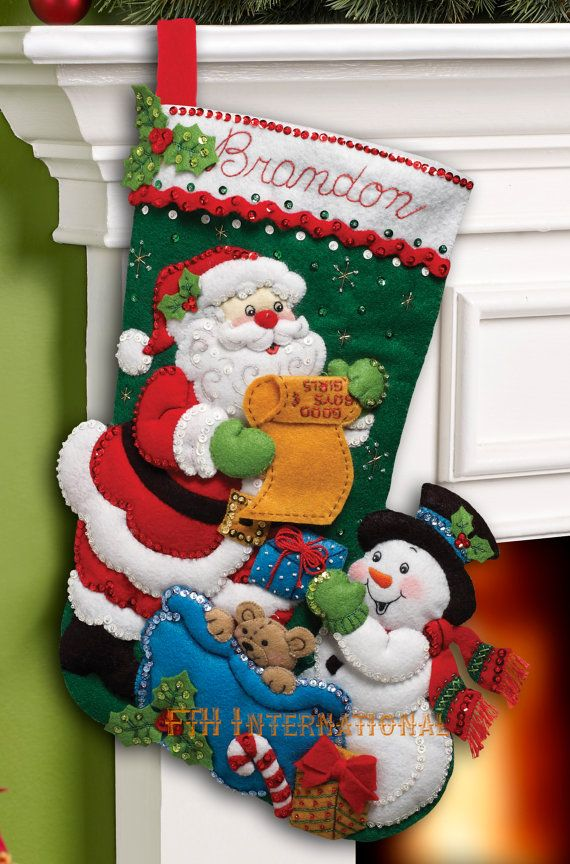 Bucilla ~ Santas List ~ 18 Felt Christmas Stocking Kit #86360  BRAND NEW ~ 2012 ~ PATTERN  Santa is checking his list to make sure that Frosty packs a special gift in his sack for every good boy and girl on his list. This is the fourth of four new stocking patterns that Bucilla will be releasing in December 2012. There are also going to be 2 ornament kits and a tree skirt released at the same time. Please keep watching my listings to see the others as they come available.  Bucilla felt…