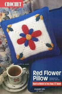 *Free Crochet Pattern:  Crochet In Action: Red Flower Pillow