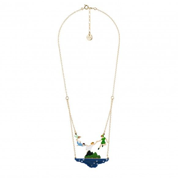 """les nereides N2 """"PETER PAN AND THE DARLING CHILDREN FLYING OVER THE NEVERLAND NECKLACE"""" Materials : Hand enameled 3D resin, printed brass and resin under transparent resin, hand enameled 3D tin casting, crystals, beads, 14k gold plated brass chain"""