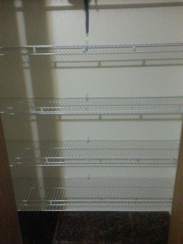 Closet shelves for renters. Command hooks and wire shelving from Lowe's. They'll cut it to size for you at the store. No holes in the wall, no…