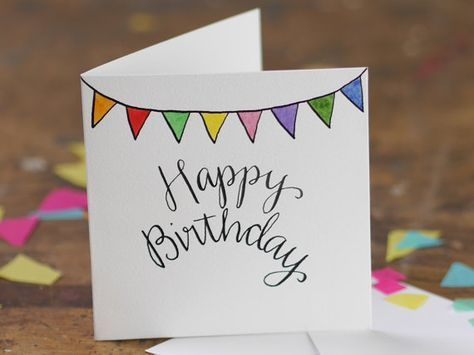 Hand Lettering Happy Birthday bunting greetings card