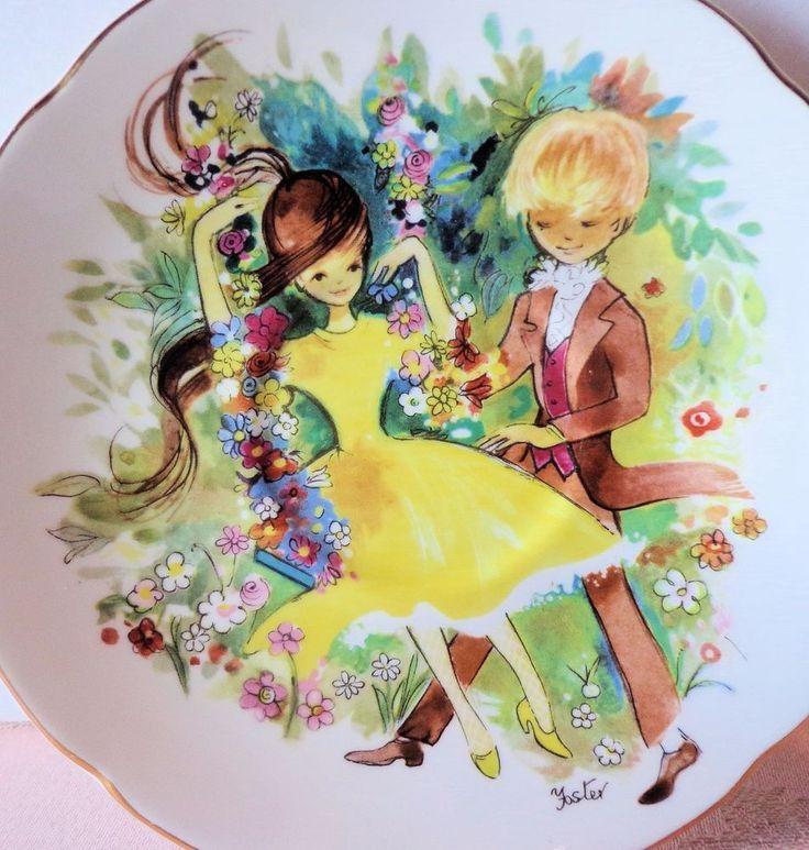 Royal Grafton Bone China 2125 Tea Cup & Saucer Boy Girl Yellow Dress Swing  #RoyalGrafton