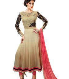 Buy Beige georgette embroidered semi stitched salwar with dupatta anarkali-salwar-kameez online