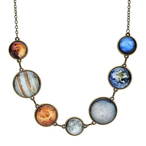 UP Ultrapink Moon Necklace Double-sided Planet Handmade Sun Moon Necklace Statement Space Necklace for women (Anti-gold Necklace 1)