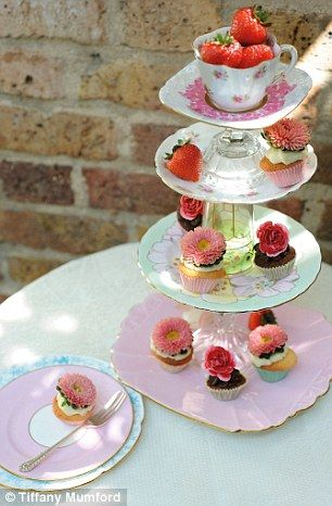 Put odd vintage cups and plates to good use with this easy-to-make cake stand