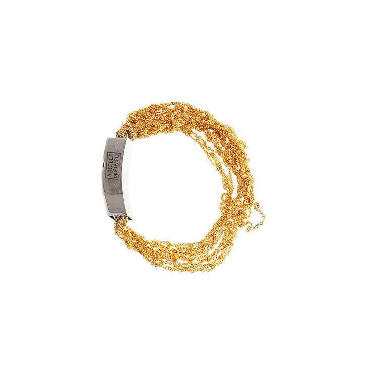 ARIELLE DE PINTO MULTI-TRESS MINI PUSH CLASP in GOLD