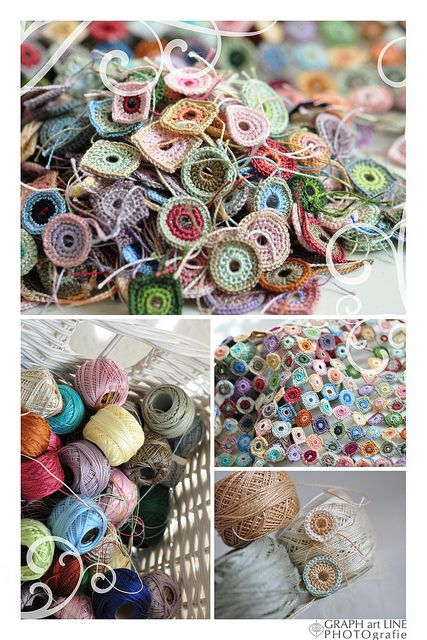 Thread crochet circles and squares