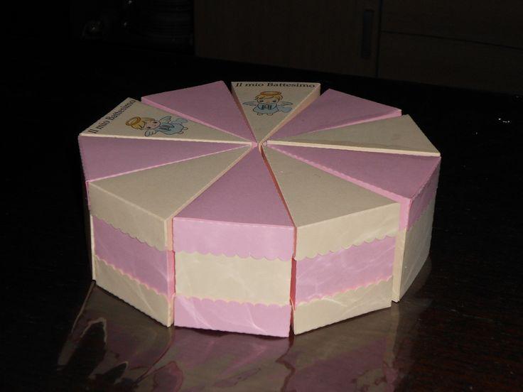 Torta portaconfetti o bomboniera in cartoncino
