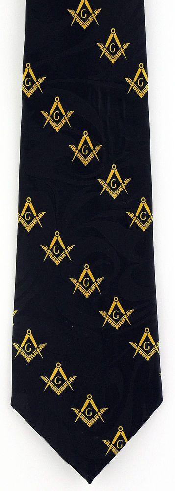 New Freemasonry Mens Necktie Mason Compass Square Masonic Order Black Neck Tie #StevenHarris #NeckTie