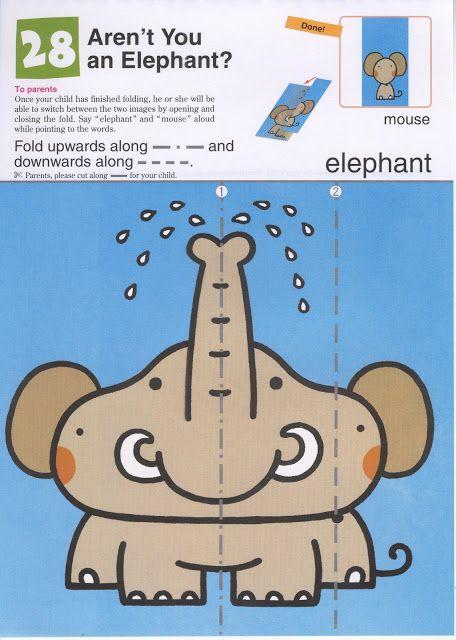 Vouw een olifant tot een muis, free printable