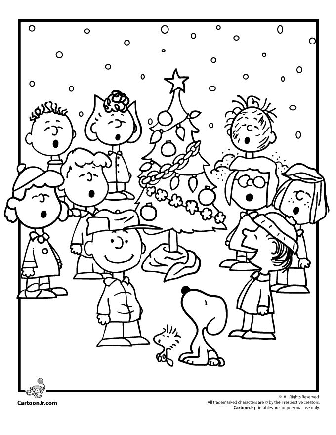Charlie Brown Christmas Coloring Pages with the Peanuts Gang