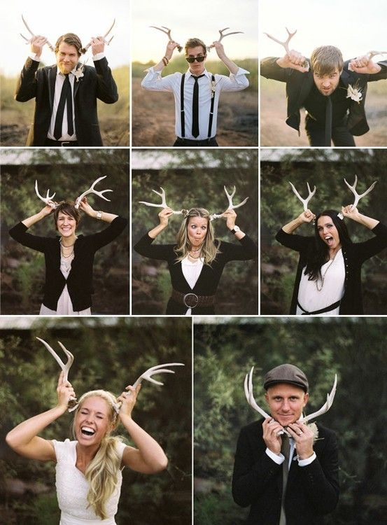 antlers as photobooth props | how to incorporate antler details in your wedding by oh lovely day
