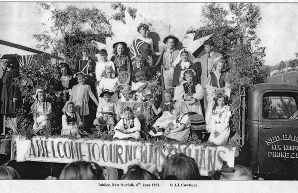 New Norfolk Float after WW11 'A welcome to our new Australians.'