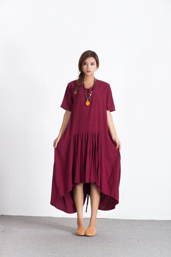 Wijn rode vrouwen linnen maxi jurk asymmetrie linnen kaftan oversize bruidsmeisje jurk groot formaat jurk plus size kleding custom_made kleding