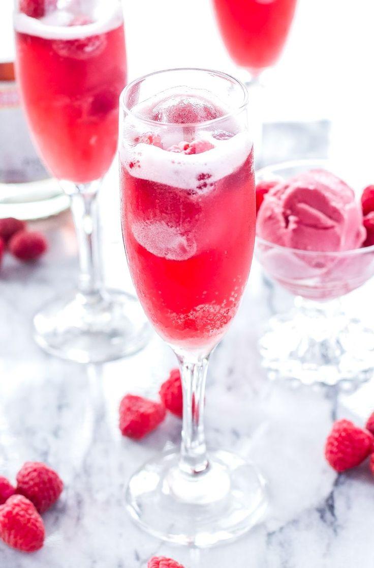 brunch cocktails raspberry sorbet bellinis