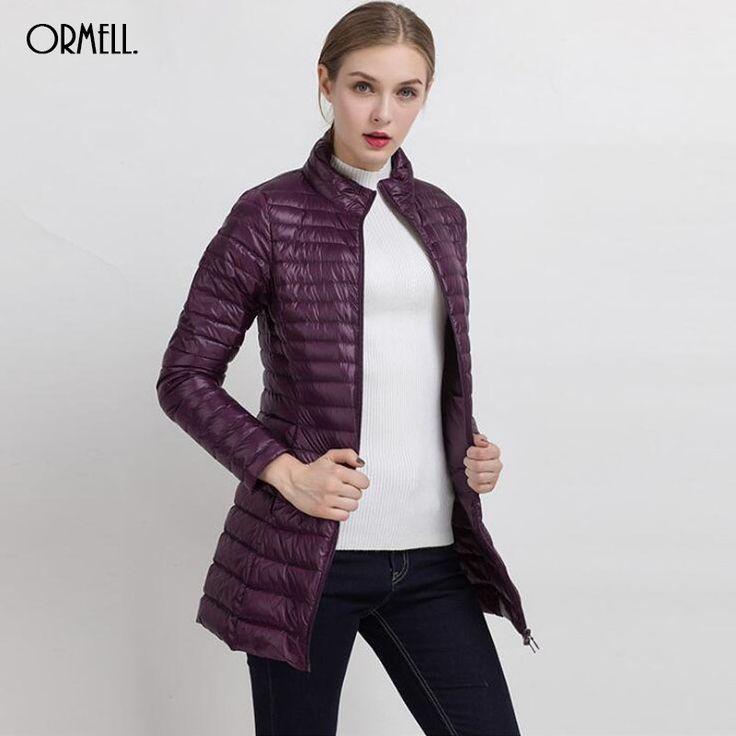 2016 Winter Warm New Women Long Thin Down Jacket Slim Korean Stand Collar  White Duck Down Zipper Long Coat 8 Colors