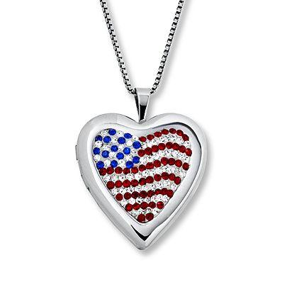 U.S.A. Flag Heart Locket Swarovski Elements Sterling Silver