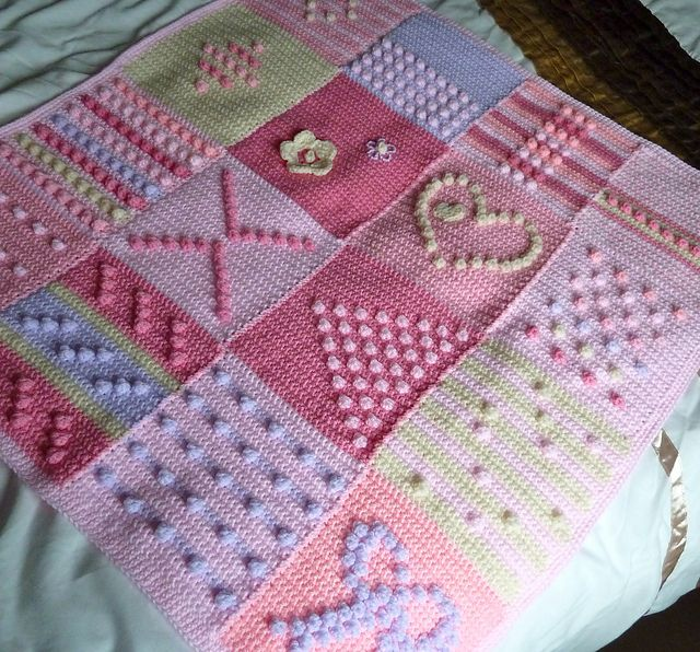Ravelry: debbieredman's Pink lilac and cream bobbly squares