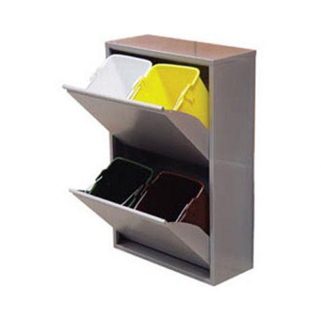 Cubo de reciclaje goro 4 compartimentos gris metalizado - Cubos de basura para reciclar ...