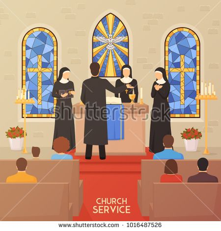Stock Photo: Church service communal worship christian traditions and religious ceremony flat poster with priest nuns and bible illustration