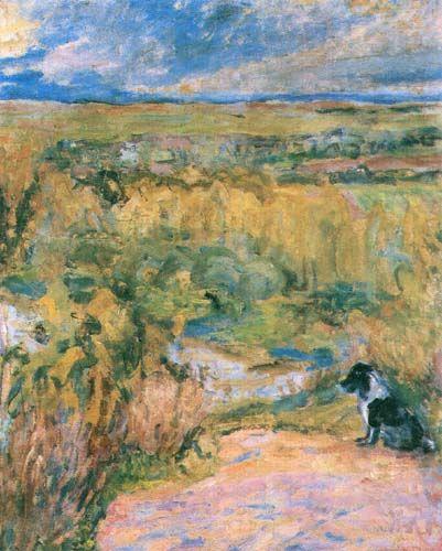 huariqueje: Salty, Landscape with a Dog - Józef Czapskicm. Polish 1896-1993 oil on canvas , 46 x 38 cm.
