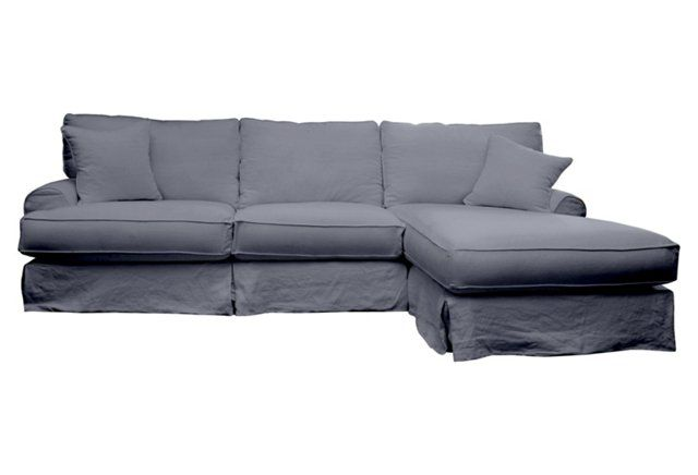 Boy's basement: Carlie Slipcover Sectional, Gray Linen