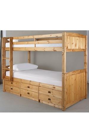 Kidspace Georgie Solid Pine Bunk Bed Frame With Storage Bed Frames