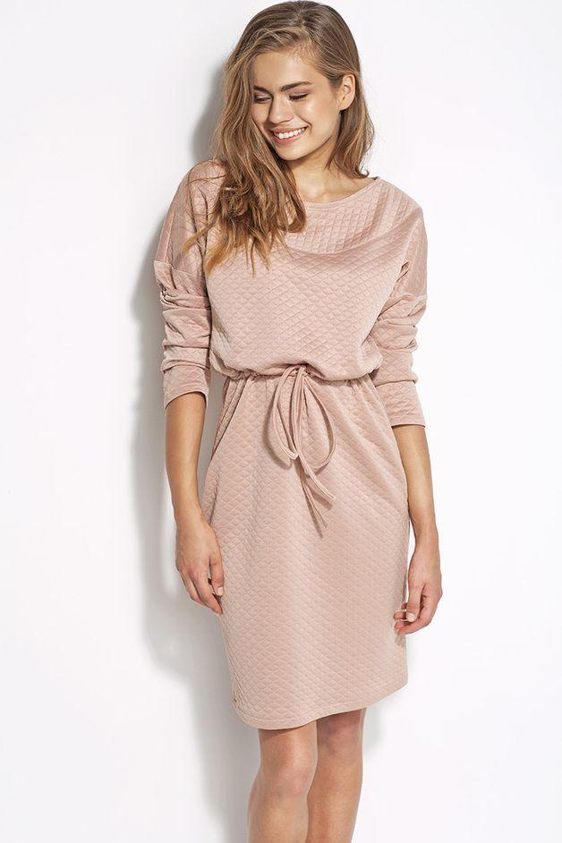 Pikowana sukienka z wiązaniem al21 - róż - alore_pl - Sukienki