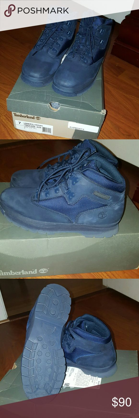 Navy blue EUROHIKER TIMBERLAND BOOTS 7Y NAVY BLUE BLARELY WORN EUROHIKER TIMBERLAND BOOTS WITH ORIGINAL BOX SIZE 7Y Timberland Shoes Ankle Boots & Booties