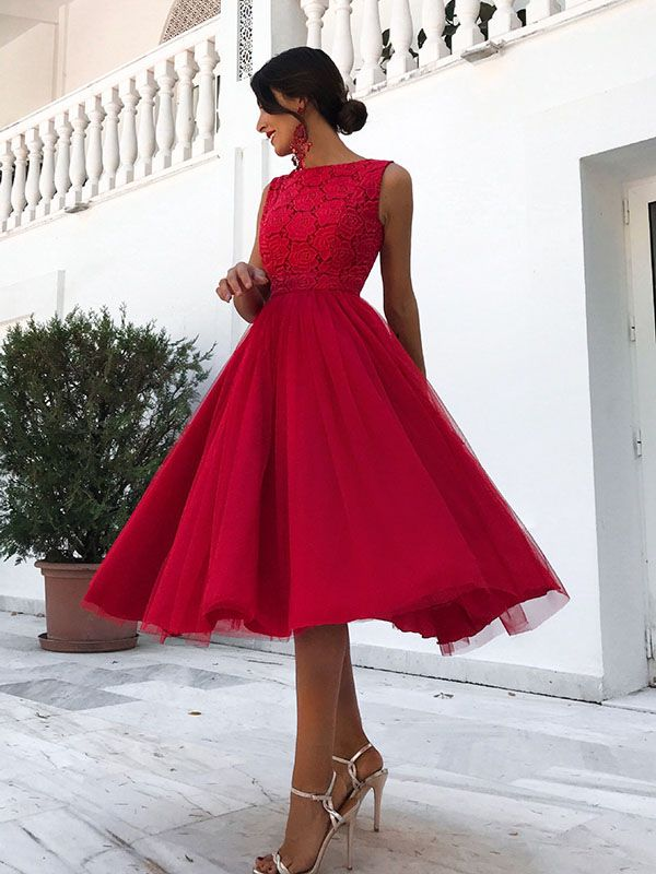 Red Patchwork Grenadine Lace Zipper Backless Sleeveless Elegant Prom Evening Party Midi Dress Ball Gown Dresses Red Dress Womens Dresses