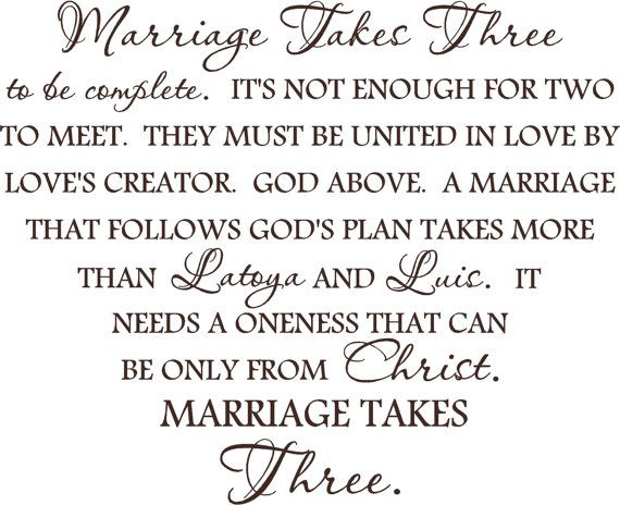 Marriage takes three with custom names-special buy any 2 vinyl designs and get a 3rd one FREE of equal or lesser value #marriage #God